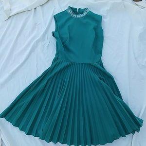 FREE Vintage teal aqua 50's dress pleated skirt